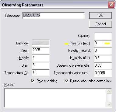 Observing parameters window in Tpoint