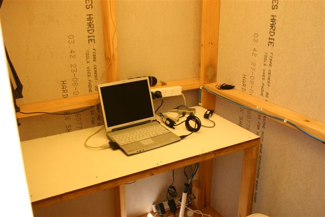 Photo of the warm room, where I connect my laptop to the telescope.